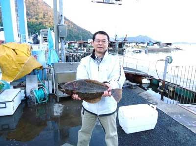 2012年4月14日(土)若狭湾でヒラメの60cmを釣られました