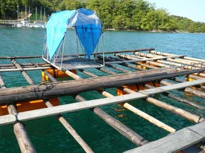 両親が製作した竹の筏を曳航して破棄予定です